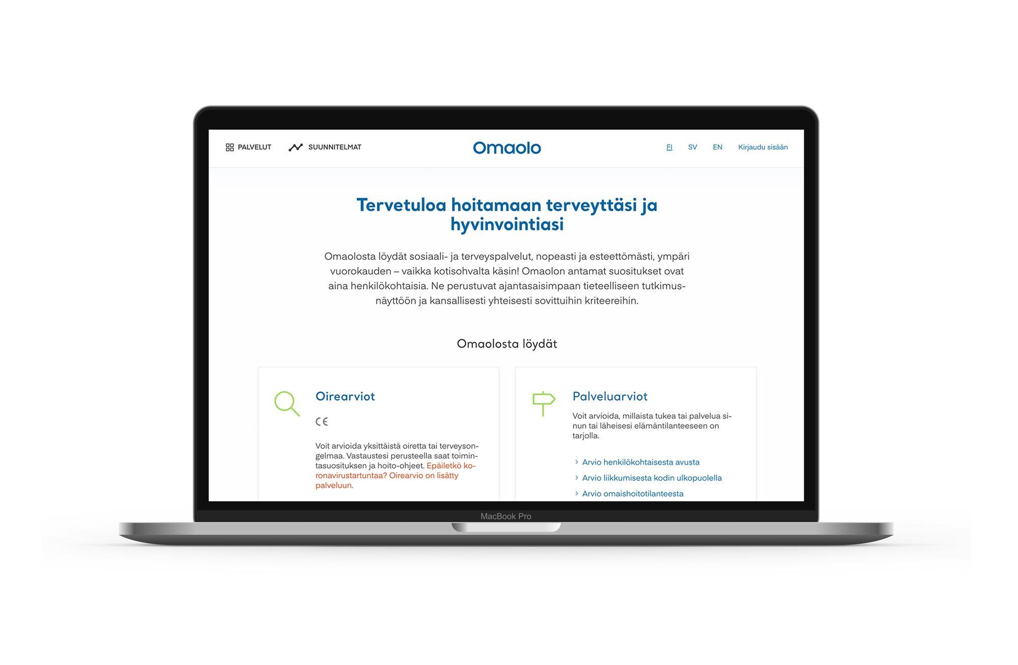 OmaOlo.fi verkkopalvelun näkymä selainikkunassa