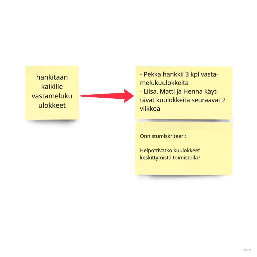 """Esimerkki konkreettisista toimista. Mikäli paras idea on: """"hankitaan kaikille vastamelukuulokkeet"""". Konkreettiset toimet voisivat olla, että  Pekka hankkii 3 kpl vastamelukuulokkeita ja Liisa, Matti ja Henna käyttävät kuulokkeita seuraavat 2 viikkoa. Onnistumiskriteeri voisi olla esim. Helpottivatko kuulokkeet keskittymistä toimistolla?"""